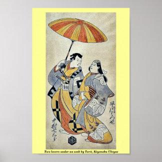 Dos amantes bajo umb por Torii, Kiyonobu Ukiyoe Impresiones
