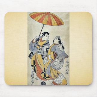 Dos amantes bajo umb por Torii, Kiyonobu Ukiyoe Tapete De Raton