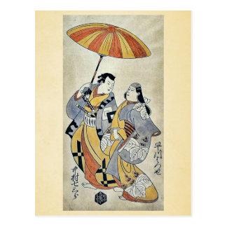 Dos amantes bajo umb por Torii, Kiyonobu Ukiyoe Postal