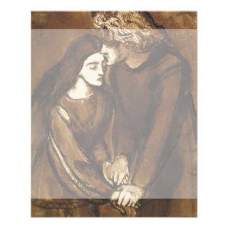 "Dos amantes de Dante Gabriel Rossetti Folleto 4.5"" X 5.6"""