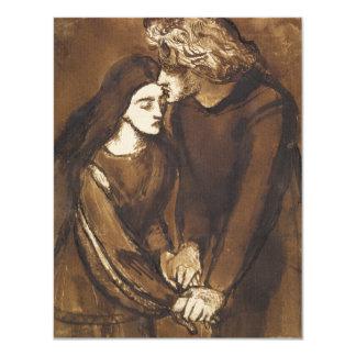 """Dos amantes de Dante Gabriel Rossetti Invitación 4.25"""" X 5.5"""""""