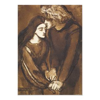 """Dos amantes de Dante Gabriel Rossetti Invitación 5"""" X 7"""""""