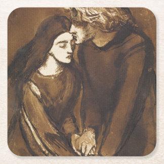 Dos amantes de Dante Gabriel Rossetti Posavasos Desechable Cuadrado