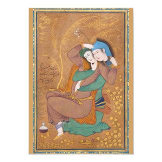 """Dos amantes de Reza Abbasi (1630) Invitación 5"""" X 7"""""""