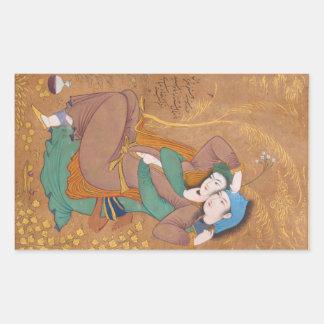 Dos amantes de Reza Abbasi (1630) Pegatina Rectangular