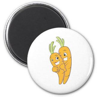 Dos amantes dulces de la zanahoria imán redondo 5 cm
