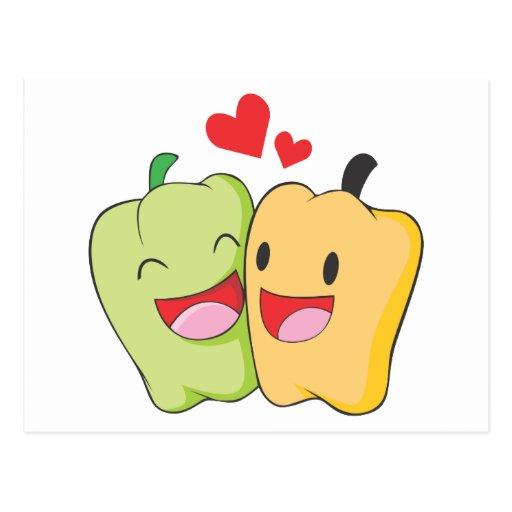 Dos amantes dulces del paprika tarjetas postales