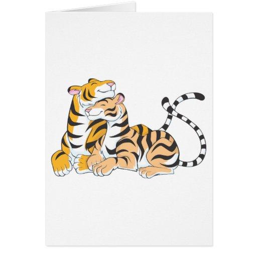 Dos amantes dulces del tigre tarjetas
