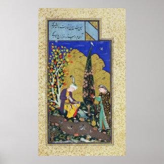 Dos amantes en una huerta floreciente póster