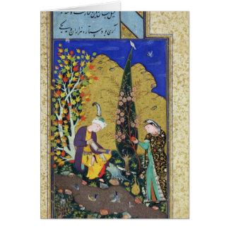 Dos amantes en una huerta floreciente tarjeta de felicitación