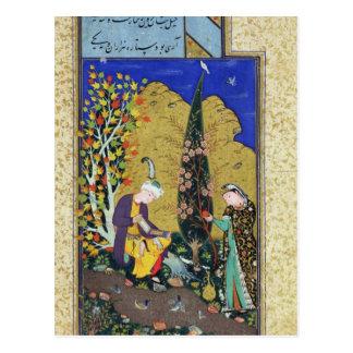 Dos amantes en una huerta floreciente tarjetas postales