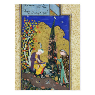 Dos amantes en una huerta floreciente tarjeta postal
