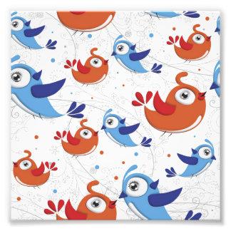 Dos amantes naranja del pájaro y modelo del azul cojinete