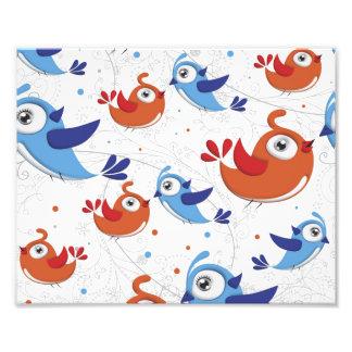 Dos amantes naranja del pájaro y modelo del azul fotografía