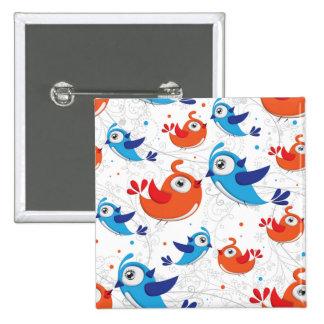 Dos amantes naranja del pájaro y modelo del azul pin cuadrado