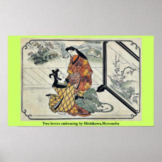 Dos amantes que abrazan por Hishikawa, Moronobu Póster