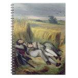 Dos amantes que mienten en un campo de maíz (litho cuaderno