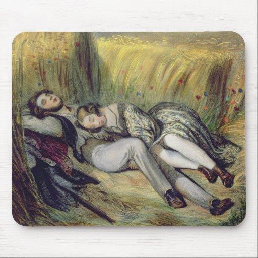 Dos amantes que mienten en un campo de maíz (litho mousepad