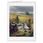 Dos amantes que mienten en un campo de maíz (litho tarjeta de felicitación