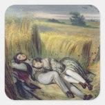 Dos amantes que mienten en un campo de maíz pegatina cuadrada