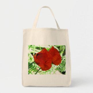Dos amapolas orientales bolsa tela para la compra