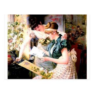 Dos amigos de las hermanas que leen la pintura de postal