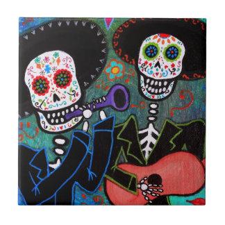 DOS Amigos Dia de los Muertos Teja Cerámica