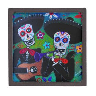 DOS Amigos Dia de los Muertos Mariachi Cajas De Joyas De Calidad