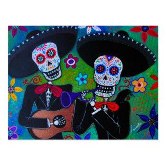 DOS Amigos Dia de los Muertos Mariachi Postal