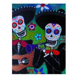 DOS Amigos Dia de los Muertos Mariachi Tarjeta Postal