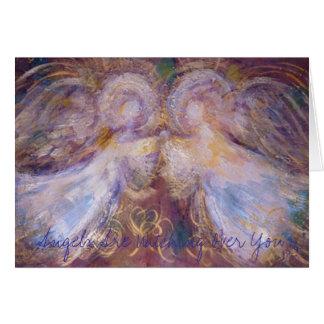 Dos ángeles, ángeles están vigilando usted tarjeta de felicitación