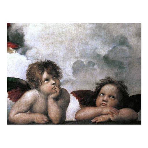 Dos ángeles, bella arte del vintage de Raphael Tarjeta Postal