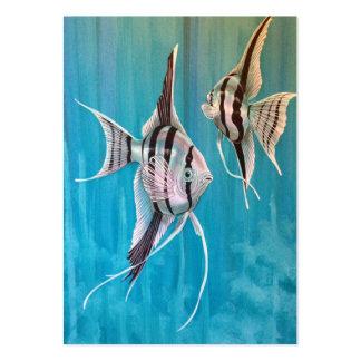 Dos ángeles tropicales de los pescados en blackgro plantillas de tarjetas personales