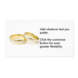 Dos anillos que casan al pegatina etiquetas de envío