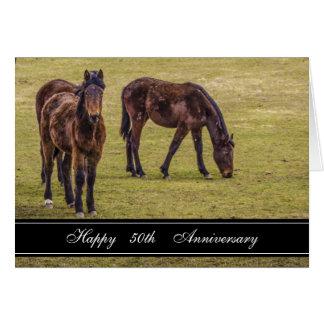 Dos aniversario de los caballos 50 os tarjetas