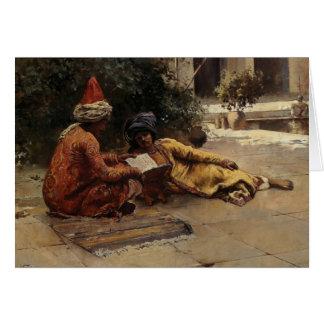 Dos árabes que leen por señor Weeks de Edwin Felicitación