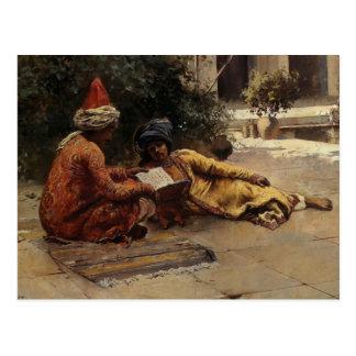 Dos árabes que leen por señor Weeks de Edwin Tarjetas Postales