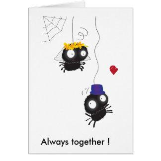¡dos arañas que se casan, siempre junto! tarjeta de felicitación