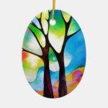 Dos árboles ornamento de navidad