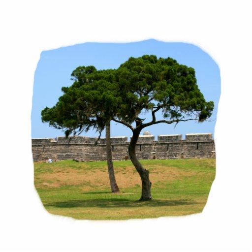 Dos árboles y paredes del castillo escultura fotografica