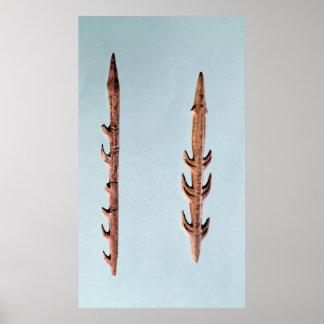 Dos arpones, período paleolítico superior impresiones
