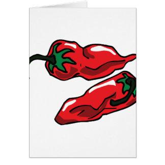Dos arrugaron los troncos de las pimientas rojas g tarjetas