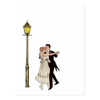 Dos bailarines de los años 20 y luces de calle tarjetas postales