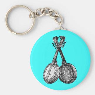 Dos banjos llavero redondo tipo pin