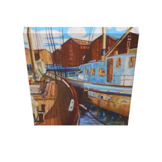 Dos barcos amarrados en Gloucester atracan Impresión En Lienzo