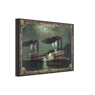 Dos barcos de vapor en el río. Edad del vapor Lienzo Envuelto Para Galerias