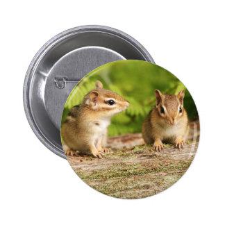 Dos bebés lindos del Chipmunk Pin Redondo 5 Cm