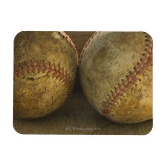 Dos béisboles antiguos imanes rectangulares