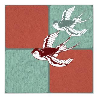"""Dos bloques del color de azul rojo de los pájaros invitación 5.25"""" x 5.25"""""""