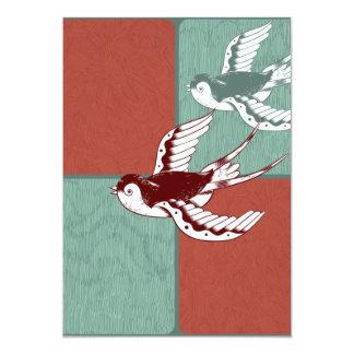 """Dos bloques del color de azul rojo de los pájaros invitación 5"""" x 7"""""""